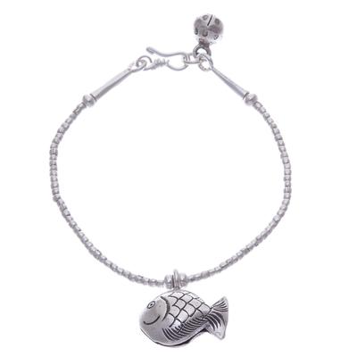 Karen Hill Tribe Silver Goldfish Bracelet with Ringing Bells