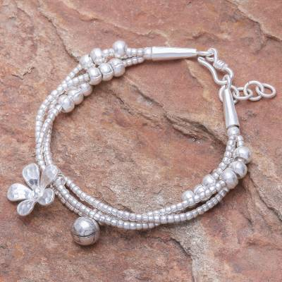 Silver beaded charm bracelet, 'Singing Blossom - Thai Karen Hill Tribe Silver Floral Bracelet with a Bell