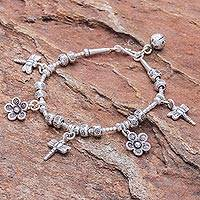 Silver beaded charm bracelet, 'Dragonfly Daisies' - Dragonfly-Themed Karen Silver Beaded Charm Bracelet