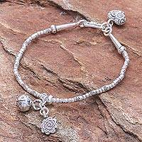Silver beaded bracelet, 'Floral Sound' - Floral Karen Silver Beaded Bracelet with Bell Charm