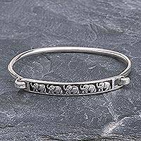 Sterling silver bangle bracelet, 'Pachyderm Parade' - Thai Elephant Sterling Silver Bangle Bracelet