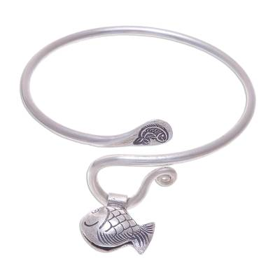 Handcrafted Thai Hill Tribe Silver Fish Charm Bracelet