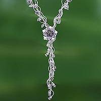 Silver Y-necklace, 'Flowery Cascade' - Stunning Floral Cascading Y-Necklace in 950 Silver