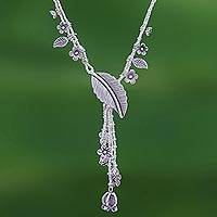 Sterling silver Y-necklace, 'Like Paradise' - Flower and Leaf Themed Sterling Silver Y-Necklace