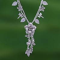 Silver beaded Y-necklace, 'Garden Beauty' - Nature-Themed 950 Silver Y-Necklace from Thailand