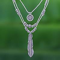 Silver pendant necklace, 'Hill Tribe Trend' - Three Strand Hill Tribe 950 Silver Necklace