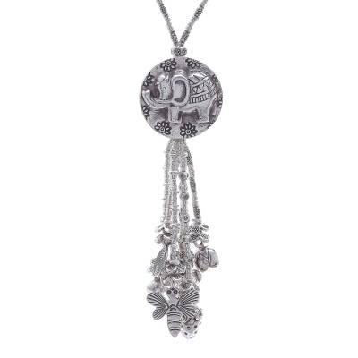 950 Silver Elephant Charm Pendant Necklace