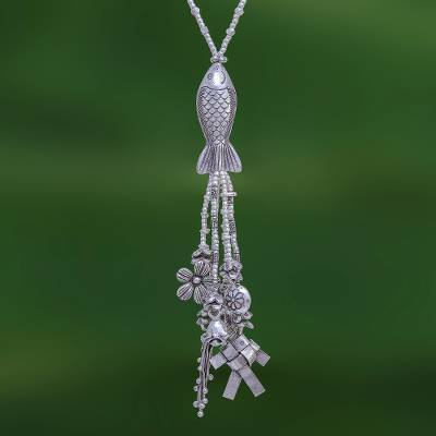 Silver beaded long Y-necklace, 'Koi Charm' - Koi Fish Charm Pendant Necklace in 950 Silver