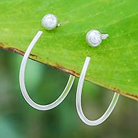 Silver threader earrings, 'Hoopla' - Karen Hill Tribe Silver Threader Hoop-Look Earrings