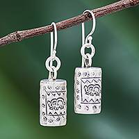 Silver dangle earrings, 'Walking Elephant'