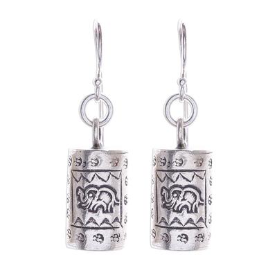 Silver dangle earrings, 'Walking Elephant' - Karen Hill Tribe Silver Elephant Motif Dangle Earrings