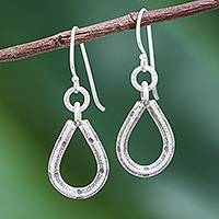Silver dangle earrings, 'Raindrop Window' - Karen Hill Tribe Silver Teardrop Window Dangle Earrings