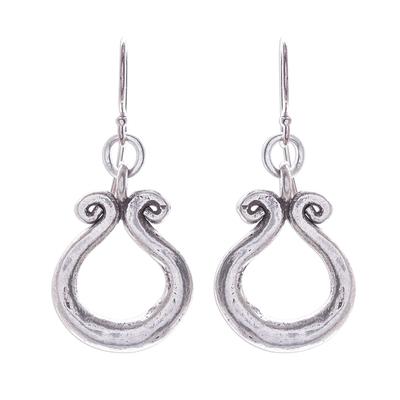 Silver dangle earrings, 'Organic Ring' - Karen Hill Tribe Silver Circle Window Dangle Earrings