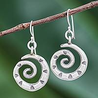 Silver dangle earrings, 'Joyful Spirals' - Karen Hill Tribe Silver Triangles on Spirals Dangle Earrings