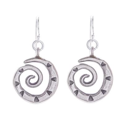 Silver dangle earrings, 'Joyful Spirals' - Karen Hill Tribe Silver Triangles on Spirals Dangle Earrings