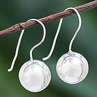 Silver drop earrings, 'Silver Moon Rising' - Karen Hill Tribe Silver High Polish Balls Drop Earrings
