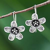 Silver drop earrings, 'Dappled Daisy' - Karen Hill Tribe Silver Daisy Flower Drop Earrings