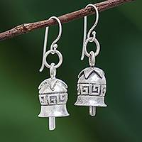 Silver dangle earrings, 'Sonorous' - Karen Hill Tribe Silver Geometric Motif Bell Dangle Earrings