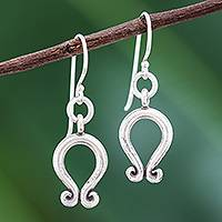 Silver dangle earrings, 'Archway' - Karen Hill Tribe Silver Arcs with Curlicues Dangle Earrings