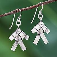 Silver dangle earrings, 'Woven Fish' - Karen Hill Tribe Silver Woven Fish Dangle Earrings