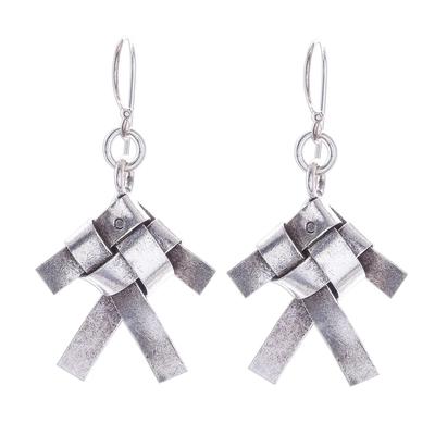 Silver dangle earrings, 'Woven Fish' - Karen Hill Tribe Silver Woven Fish Dangle Earrings