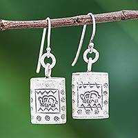 Silver dangle earrings, 'Honored Elephant'