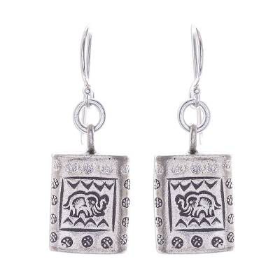 Silver dangle earrings, 'Honored Elephant' - Karen Hill Tribe Silver Elephant Motif Block Dangle Earrings