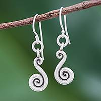Silver dangle earrings, 'Serpentine Swirl'