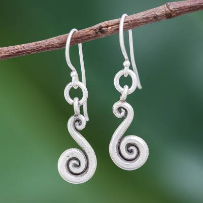 Silver dangle earrings, 'Serpentine Swirl' - Karen Hill Tribe Silver Serpentine Dangle Earrings
