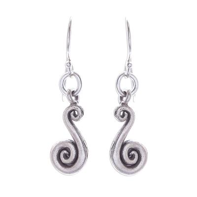 Silver dangle earrings, 'Serpentine Swirl' - Karen Hill Tribe Silver Serpentine Dangle Earrings