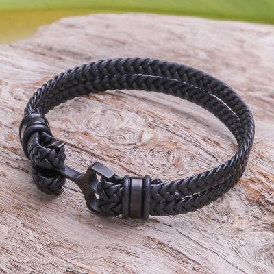 Leather braided wristband bracelet, 'Anchor Strength in Black' - Leather Braided Wristband Bracelet in Black from Thailand