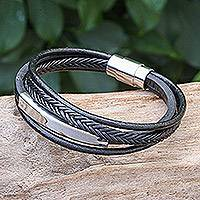 Leather strand bracelet, 'Mighty Strength in Black' - Leather Strand Bracelet in Black from Thailand