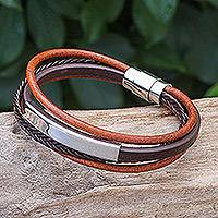 Leather strand bracelet, 'Mighty Strength in Brown' - Leather Strand Bracelet in Brown from Thailand