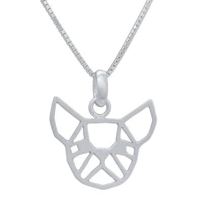 Geometric Bulldog Sterling Silver Pendant Necklace