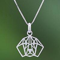 Sterling silver pendant necklace, 'Geometric Beagle'