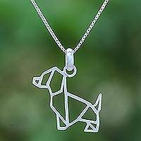 Sterling silver pendant necklace, 'Geometric Dachshund'