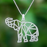 Sterling silver pendant necklace, 'Trumpeting Geometry' - Geometric Sterling Silver Elephant Pendant Necklace