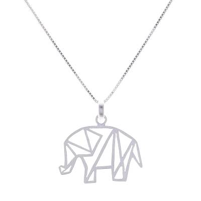 Sterling silver pendant necklace, 'Mother of the Forest' - Geometric Sterling Silver Elephant Necklace from Thailand