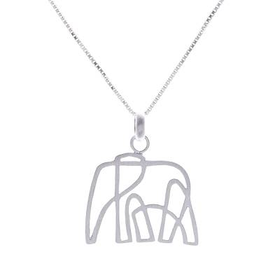 Artistic Sterling Silver Elephant Pendant Necklace