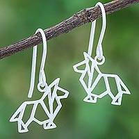 Sterling silver dangle earrings, 'Geometric Collie' - Geometric Collie Sterling Silver Dangle Earrings