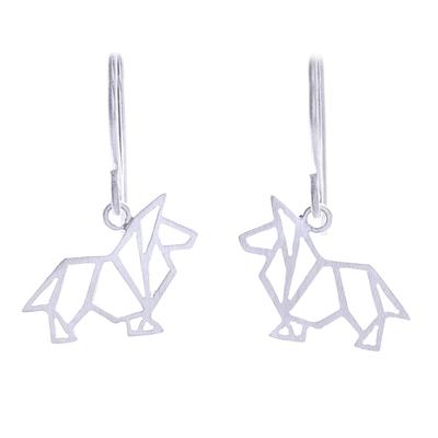 Sterling silver dangle earrings, 'Geometric Collie' - Geometric Collie Sterling Silver Dangle Earrings