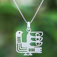 Sterling silver pendant necklace, 'Egyptian Chicken'