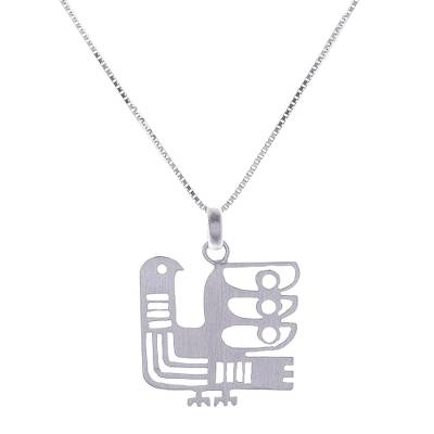 Sterling silver pendant necklace, 'Egyptian Chicken' - Egyptian-Style Sterling Silver Chicken Pendant Necklace