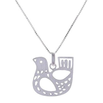 Sterling silver pendant necklace, 'Cute Chicken' - Sterling Silver Chicken Pendant Necklace from Thailand
