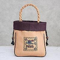 Cotton tote bag, 'Elephant Caper in Purple' - 100% Cotton Tan and Purple Elephant Motif Cinch-Top Tote Bag