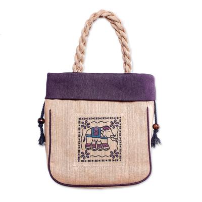 100% Cotton Tan and Purple Elephant Motif Cinch-Top Tote Bag