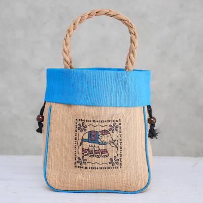 Cotton tote bag, 'Elephant Caper in Blue' - 100% Cotton Tan and Blue Elephant Motif Cinch-Top Tote Bag