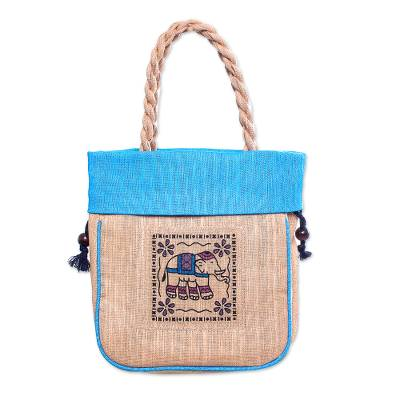 100% Cotton Tan and Blue Elephant Motif Cinch-Top Tote Bag