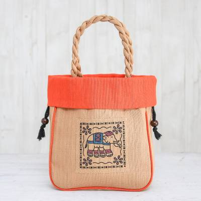 Cotton tote bag, 'Elephant Caper in Orange' - 100% Cotton Tan and Orange Elephant Motif Cinch-Top Tote Bag