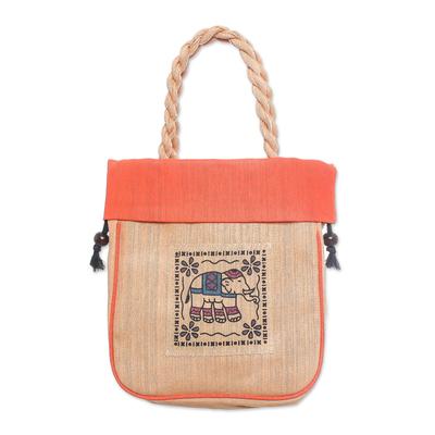 100% Cotton Tan and Orange Elephant Motif Cinch-Top Tote Bag